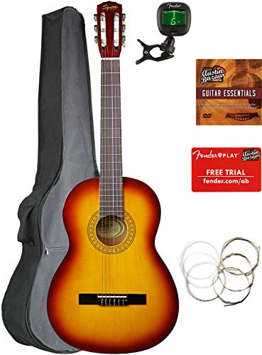 Fender Squier Classical Acoustic Guitar – Sunburst Bundle with Gig Bag, Tuner, Strings, Fender Play Online Lessons, and Austin Bazaar Instructional DVD