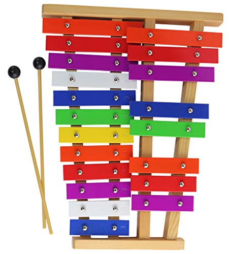 Xylophone 20 Notes Chromatic F-C Tuned Glockenspiel with Colorful Keys Wooden Base