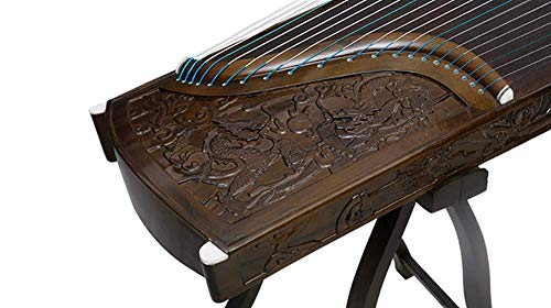 Instrument shop 21 String Nanmu deep carving Kowloon professional examination playing zither, solid wood carving examination playing instrument (H type bracket + full set of accessories)