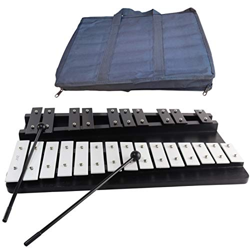 Large Xylophone 25 Notes Full Chromatic from G to G Tuned Clear Sounding Glockenspiel on Wooden Stand 2 plastic Mallets