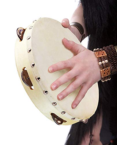 Tambourine 8 inch Wood Handheld Drum with 6 Pairs Single Row Jingles for Church Party Prop Adults and Kids Percussion