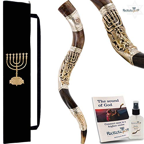 HalleluYAH Silver Plated Shofar Set – 32″-36″ Kudu Horn Kosher Shofar Lions Of Judah Menora – Traditional Ancient Musical Instrument For Jewish Spiritual Ceremonies – Authentic Curved Made In Israel