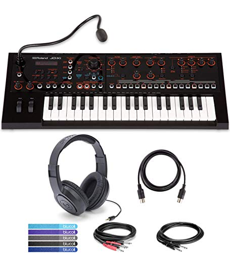 Roland JD-Xi USB MIDI Synthesizer Bundled with Samson SR350 Closed-Back Headphones, Hosa CPP-202 Stereo Interconnect Cable, CPP-103 Unbalanced Audio Cable, Blucoil 5-Ft MIDI Cable, and 5 Cable Ties