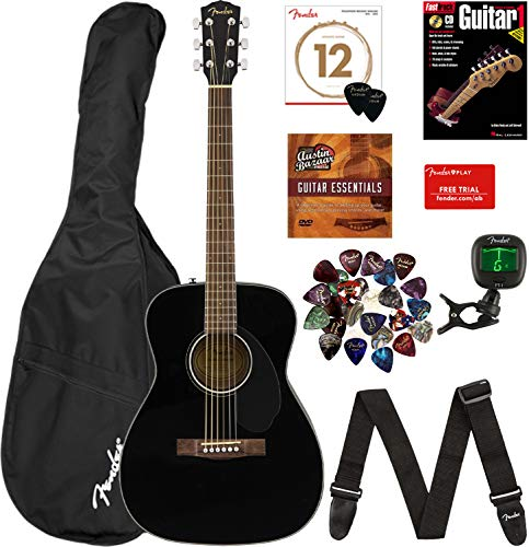Fender CC-60S Concert Acoustic Guitar – Black Bundle with Gig Bag, Tuner, Strap, Strings, Picks, Fender Play Online Lessons, Instructional Book, and Austin Bazaar Instructional DVD