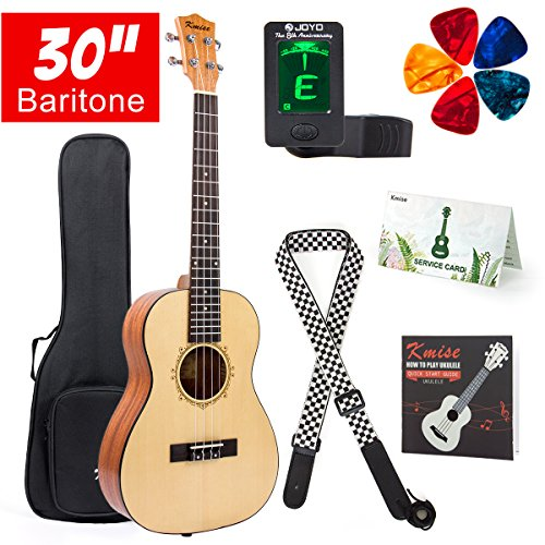 Baritone Ukulele 30 Inch Ukelele Uke 4 String Guitar With Ukele Picks Strap Tuner G-C-E-A String (Spruce Top Mahogany Back Side)