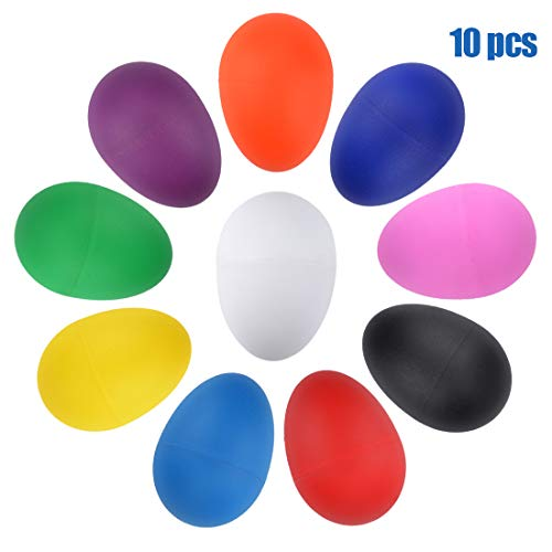 10PCS Plastic Egg Shakers Percussion Musical Egg Maracas Toys Music Learning DIY Painting(10 Colors)