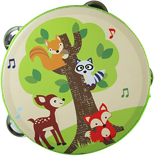 Forest Animals Tambourine Toy – Small Tambourine Drum for Kids – Musical Instrument for Children- 6.3 inch