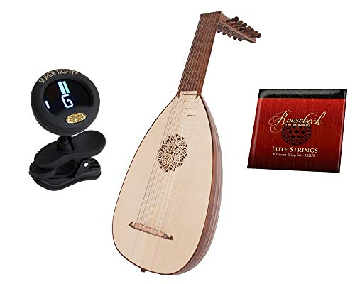 Sheesham Traditional 8 Course Deluxe Lute Solid Spruce Top W/Bag – Lt8drn + Roosebeck 8-Course Lute String Set + Snark Clip-On Chromatic Tuner For Guitar, Lute, Oud Dulcimer