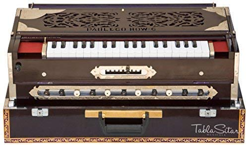 Harmonium, Paul & Co, Best Scale Changer, Concert, 3 Reeds, 9 Scales, 11 Stops, 37 Keys, Coupler Function, Teak Wood, Dark Mahogany, Book & Bag, A440 Tuned (US-PDI-FED)
