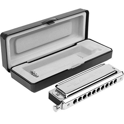 Chromatic Harmonica Professional Grade 10 Hole 40 Tone Key of C Stainless Steel Heavy Duty with Case & Cleaning Cloth for Professional Player,Band,Beginner,Students,Children,Kids,by Eison-Swan TS4035