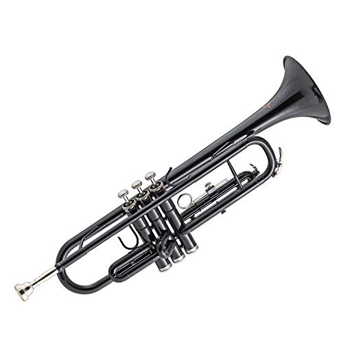 Kaizer Trumpet Bb B Flat Black Includes Travel Case Mouthpiece and Accessories TRP-1000BK