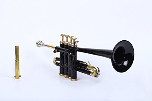 Piccolo Trumpet Black color Bb/A picth with hard case bag and mouth piece