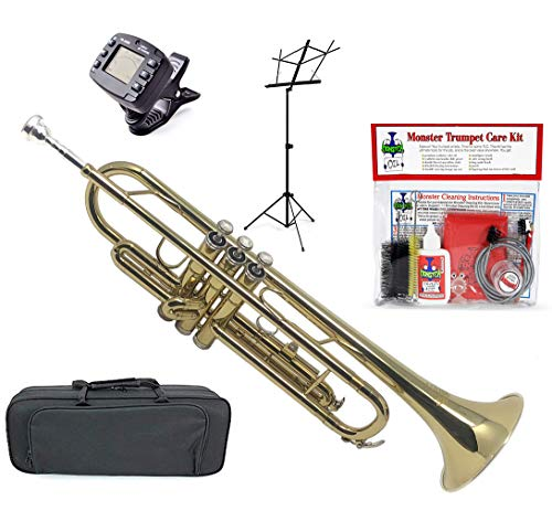 Monster Trumpet | Student, Beginner, Intermediate, or Professional. Everything You Need for Your Trumpet | Bb (B-Flat) Gold Lacquer, Mouthpiece, Tuner, Metronome, Stand, Cleaning Kit, Canvas Case