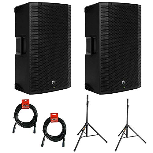 Mackie Thump12BST Boosted -1300W 12″ Advanced Powered Loudspeakers (Pair) with (2) SS-4420 Steel Speaker Stand and (2) XLR-XLR Cable