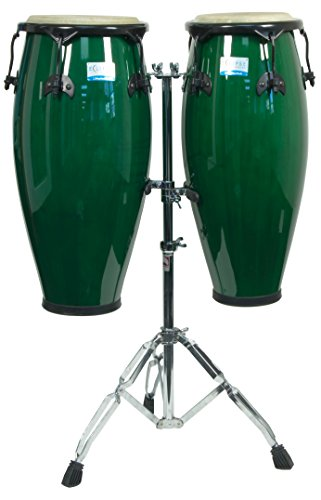 RhythmTech RT5505 Eclipse Conga Set with Stand Percussion Sound Effects, Green Finish