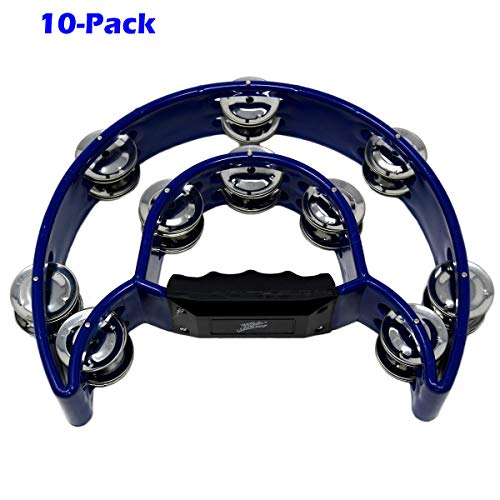 10-Pack Double D Musical Tambourine Percussion Drum 10 Double Row Metal Jingles Blue
