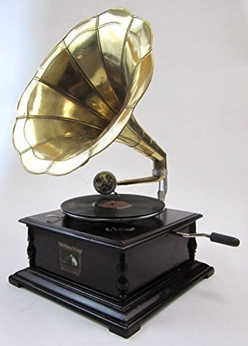 Antique Reproduction RCA Victor Phonograph Gramophone Gold Brass Horn by ecWorld