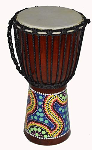 DJEMBE DRUM BONGO 16″ HAND CARVED AFRICAN ABORIGINAL DOT ART DESIGN