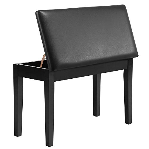 Yaheetech Wooden Piano Bench Duet Piano Stool with Padded Leather Cushion Deluxe Comfort and Storage for Music Books Sheet & Other Accessories Black