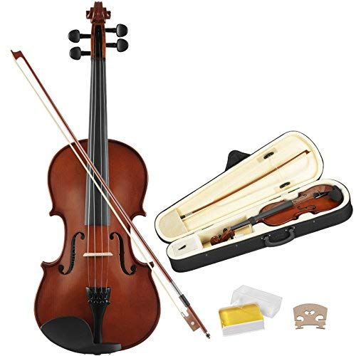 LAGRIMA Full Size 4/4 Solid Wood Acoustic Violin, Professional Handmade Violin with Hard Case, Bow, Rosin and String for Beginner Adult