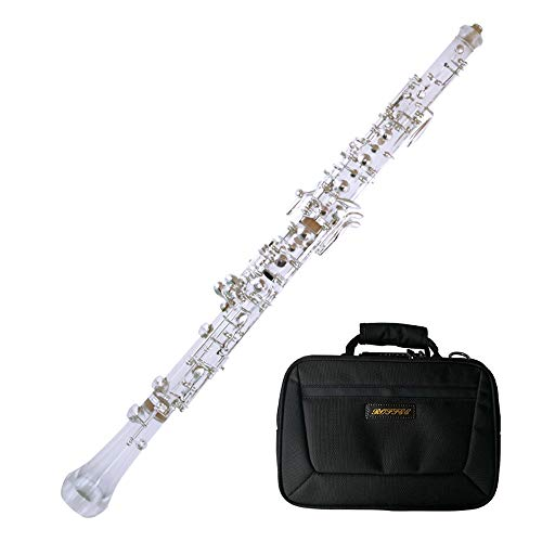 Roffee Professional Performance Level Crystal Transparent Body Semi Automatic Silver Plated Oboe