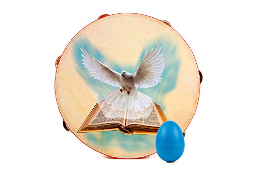 Archmum 10 inch Tambourine Dove Bible Image comes with Bonus Egg Shaker Pack Single Row 6 Pairs of Metal Jingles Percussion Wooden Instrument for Religious Church