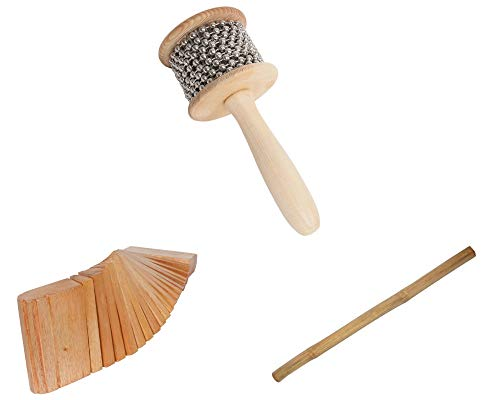 Cabasa Package Includes: Medium Wooden Hand Percussion Shaker W/Metal Beads + Rain Stick 39″ Shaker Percussion Bamboo Sticks Instruments