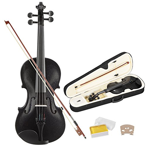 LAGRIMA 4/4 Full Size Acoustic Violin for Beginner Adult, Professional Handcrafted Violin with Hard Case, Bow, Rosin(Black-Plywood)