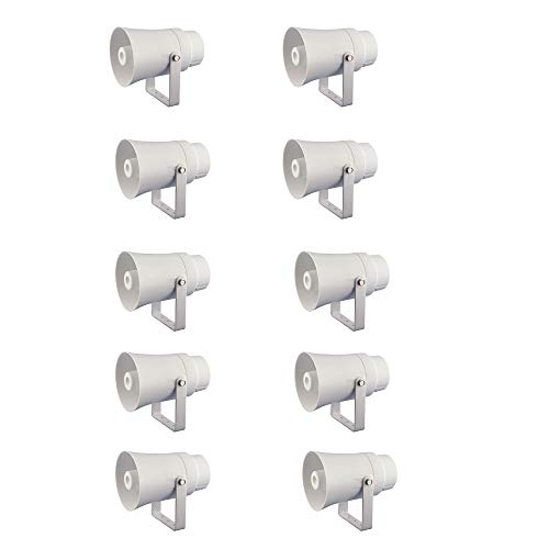 Pyle New PHSP10TA 5.6″ Indoor/Outdoor PA Horn Speaker 70 Volt 8 Ohm White (10 Pack)