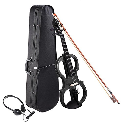 AW 4/4 Electric Violin Full Size Wood Silent Fiddle Stringed Instrument Bow Headphone Case Black