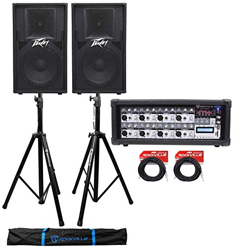 (2) Peavey PV115 15″ 1600w Speaker System Cabinets+Powered Mixer+Stands+Cables
