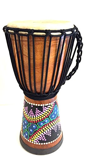 Djembe Drum Bongo Congo Hand Painted African Wood Drum 16″, JIVE (TM) BRAND, Professional Premium Quality With Heavy Base/Includes Drum Key Chain
