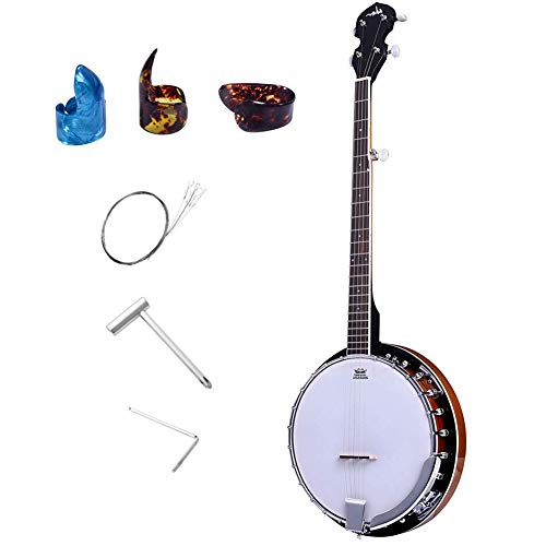 ADM 5-String Banjo 24 Bracket with Closed Solid Wood Back, Banjo Beginner Kit with Picks and Extra Strings