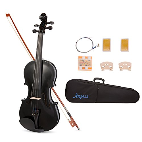 ARTALL 4/4 Handmade Student Acoustic Violin Beginner Pack with Bow, Hard Case, Chin Rest, Tuner, Spare Strings, Rosin and Bridge, Glossy Black