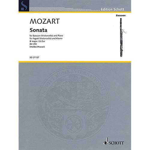 Mozart – Sonata for Bassoon (Violoncello) and Piano in B-flat Major, K. 292 Edited by Albrecht Holder Pack of 2