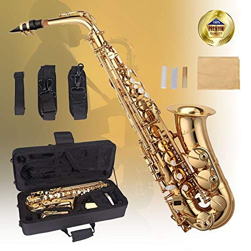 Libretto Gold Lacquer Eb Alto Saxophone with Durable Canvas Case! Made Exclusively by Stage Rocker, Made in Taiwan!
