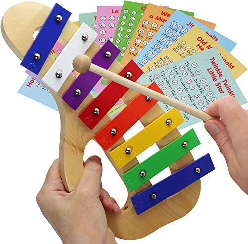 Xylophone for Children – Toy Percussion Instrument – Letter-Coded Sheet Music Cards with 23 Songs for this Children Glockenspiel Toy