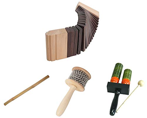 Kokinko Percussion Package Includes: Wooden Sound Effects Scraper + Rain Stick 39″ Shaker Bamboo Sticks Instruments + Double Bell Wooden Agogo w/Mallet & Cabasa, Medium Hand Shaker W/Metal Beads