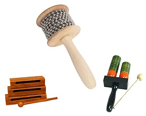 Wooden Hand Percussion Package Includes: Cabasa, Medium Wooden Hand Percussion Shaker W/Metal Beads + New Tone Blocks W/Mallets ~ Wooden Percussion ~ Set Of 3 & Double Bell Wooden Agogo w/Mallet