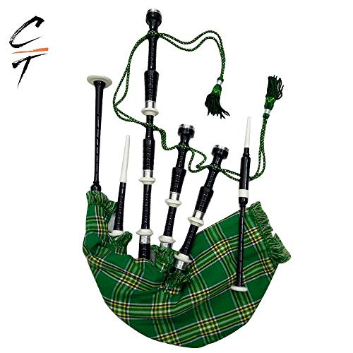 CT Great Highland Bagpipe Irish Tartan with Practice Chanter, Tutor Book, Bag and Accessories