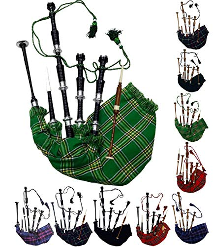 Scottish Full Size Bagpipe Rosewood or Black Finish with Silver Plain Mounts Free Tutor Book, Carrying Bag, Drone, Reeds (Black,National Green)