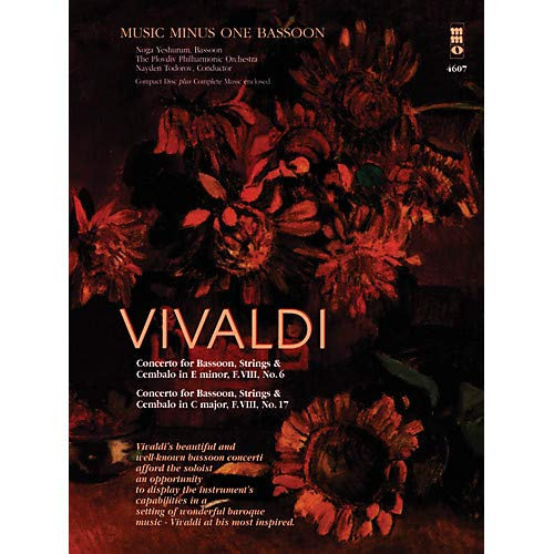 Vivaldi – Concertos for Bassoon, Strings Cembalo No. 6 and No. 7 Music Minus One Softcover with CD Pack of 2