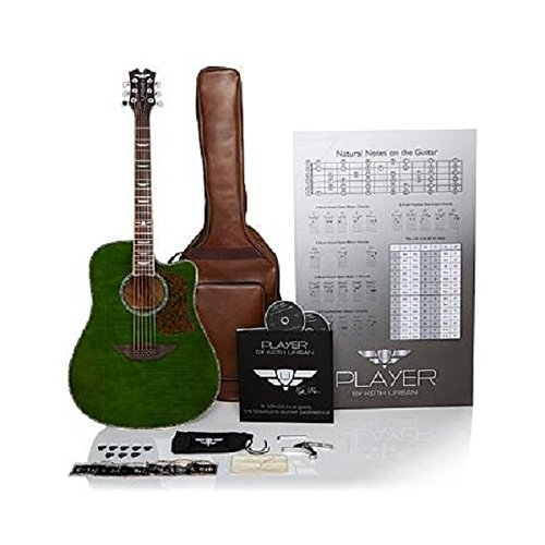 """Keith Urban 50-piece """"PLAYER"""" Acoustic Guitar and 30-Lesson Package – Military Green"""