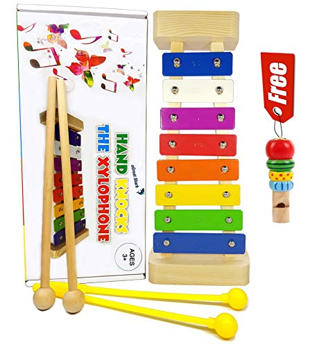 Xylophone for Kids: Glockenspiel Toy Best Gift Idea Birth/Holiday Kid – With(Four) Child-Safe Mallets, Two Mallets Wooden, Two Mallets Plastic Yellow, 3 Music Cards and a Free Wooden Whistle