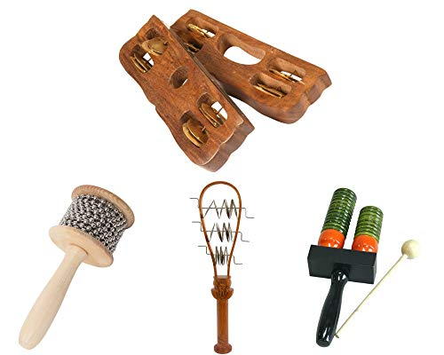 Khartals Drum Package Includes: Tambourine, Pair ~ Great For Schools Class Rooms + Tahya Ceremonial Systrum Shaker Red Cedar + Double Bell Wooden Agogo w/Mallet & Cabasa, Medium Shaker W/Metal Beads