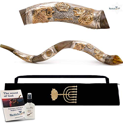 HalleluYAH Silver Plated Shofar Set – Lions Of Judah 28″-32″ Kudu Horn Kosher Shofar– Traditional Ancient Musical Instrument For Jewish Spiritual Ceremonies – Authentic Curved Made In Israel