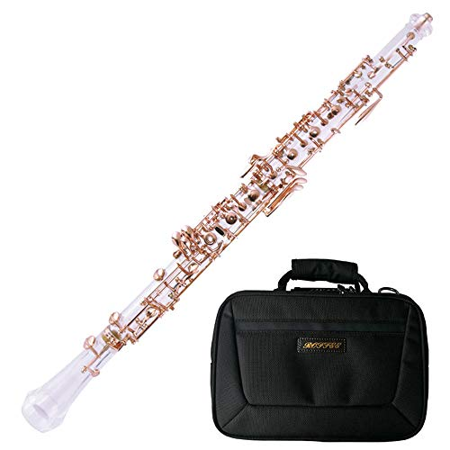 Roffee Professional Performance Level Crystal Transparent Body Semi Automatic Rose Gold Plated Oboe