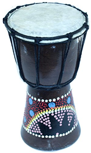 Djembe or Jembe Drum With colored dots from Jerusalem – Small (19cm or 7.5 Inches high) by Holy Land Market