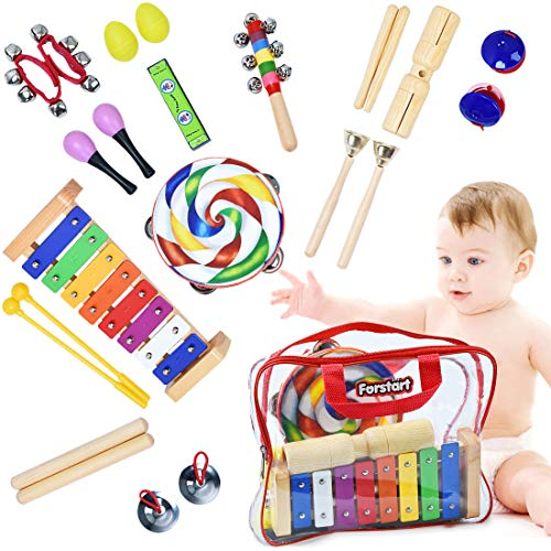 Toddler Musical Instruments – Percussion Instruments for Kids   13 Types 25pcs Wooden Rhythm & Music Toys Set with Lollipop Tambourine Xylophone Early Learning Preschool Educational Toys Storage Bag