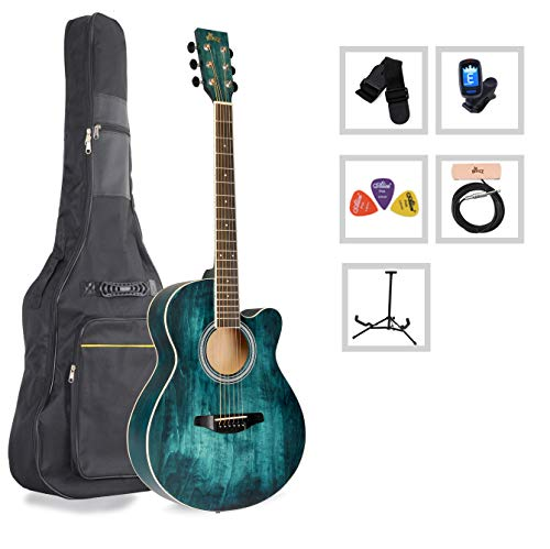 Acoustic Guitar WINZZ 40 Inches Cutaway Guitar Beginner Starter Bundle with Padded Bag, Stand, Tuner, Pickup, Strap, Picks